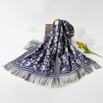 Navy Blue Fashion Casual Letter Tassel Split Joint Scarf