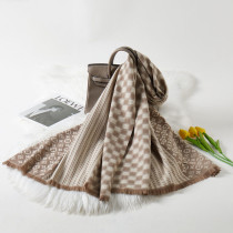 Cream White Fashion Casual Letter Split Joint Scarf