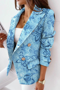 Blue Casual Print Split Joint Turn-back Collar Outerwear