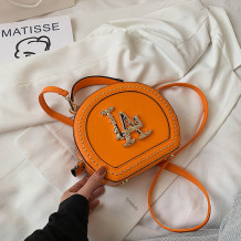 Orange Fashion Casual Patchwork Rivets Bags