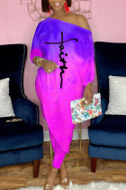 Purple Casual Print Split Joint Asymmetrical Off the Shoulder Three Quarter Two Pieces