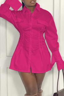 Rose Red Casual Solid Split Joint Turndown Collar Shirt Dress Dresses