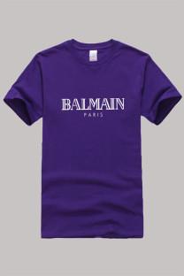 Purple Fashion Casual Print Letter O Neck Tops