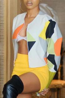 Multicolor Fashion Casual Color Lump Print Split Joint Outerwear