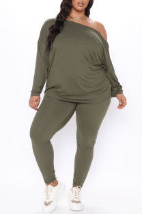Army Green Sexy Solid Backless V Neck Plus Size Two Pieces