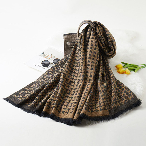 Brown Fashion Casual Letter Split Joint Scarf