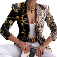 Leopard Print Casual Print Split Joint Buttons Turn-back Collar Outerwear