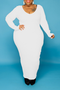 White Casual Solid Split Joint U Neck Straight Plus Size Dresses