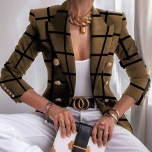Dark Khaki Casual Print Split Joint Buttons Turn-back Collar Outerwear