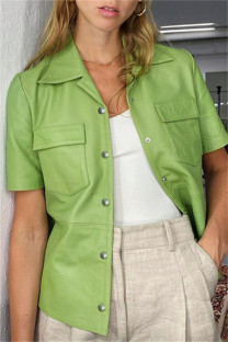 Light Green Fashion Casual Solid Cardigan Turndown Collar Outerwear