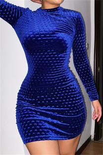 Blue Fashion Casual Solid Basic O Neck Long Sleeve Dresses