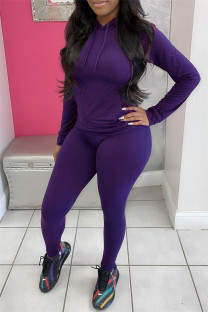 Purple Fashion Casual Solid Basic Hooded Collar Long Sleeve Two Pieces