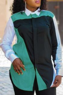 Black Fashion Casual Print Basic Turndown Collar Tops