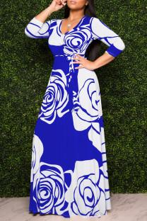 Blue Fashion Casual Print Basic V Neck Long Sleeve Dresses