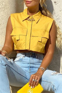 Yellow Fashion Casual Solid Split Joint Turndown Collar Tops
