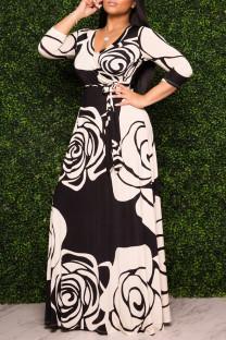 Black Fashion Casual Print Basic V Neck Long Sleeve Dresses
