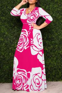 Rose Red Fashion Casual Print Basic V Neck Long Sleeve Dresses
