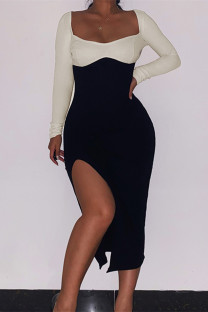 Khaki Fashion Casual Patchwork Slit Square Collar Long Sleeve Dresses