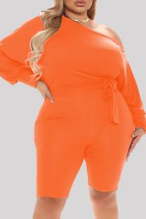 Orange Fashion Casual Solid Basic Oblique Collar Plus Size Romper