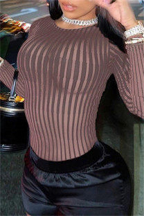 Brown Sexy Casual Striped Split Joint O Neck Skinny Jumpsuits