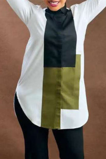 White Fashion Casual Print Basic Turndown Collar Tops