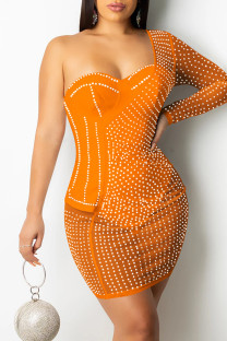 Orange Sexy Patchwork Hot Drilling See-through Backless One Shoulder Long Sleeve Dresses