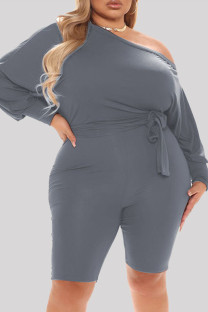 Grey Fashion Casual Solid Basic Oblique Collar Plus Size Romper