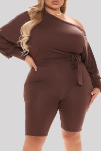 Brownness Fashion Casual Solid Basic Oblique Collar Plus Size Romper