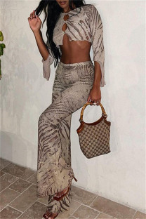 Brown Fashion Casual Print Hollowed Out O Neck Three Quarter Two Pieces