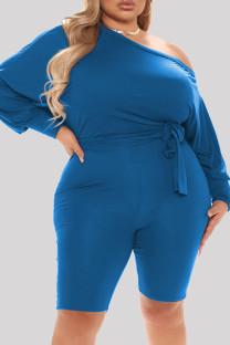 Blue Fashion Casual Solid Basic Oblique Collar Plus Size Romper