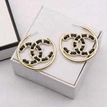Black Fashion  Simplicity Letter Split Joint Earrings
