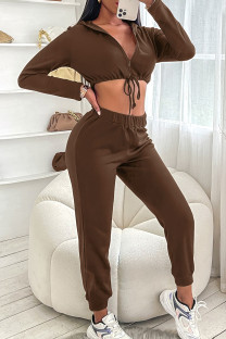 Coffee Fashion Casual Solid Bandage Zipper Collar Long Sleeve Two Pieces