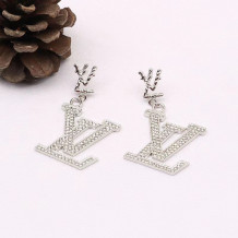 White Fashion  Simplicity Letter Split Joint Earrings
