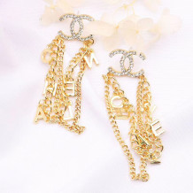 Gold Fashion  Simplicity Letter Tassel Chains Earrings
