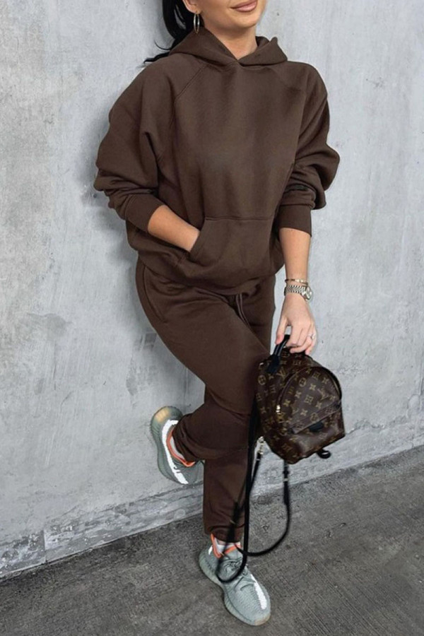 Coffee Casual Solid Split Joint Pocket Hooded Collar Long Sleeve Two Pieces