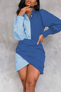 Blue Casual Solid Split Joint Buttons Asymmetrical Turndown Collar One Step Skirt Dresses