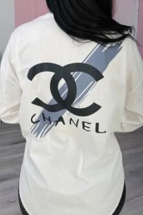 White Fashion Casual Print Split Joint Turndown Collar Tops