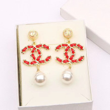 Red Fashion  Simplicity Letter Split Joint Earrings