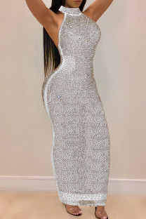 White Fashion Sexy Patchwork Hot Drilling See-through Halter Sleeveless Dress