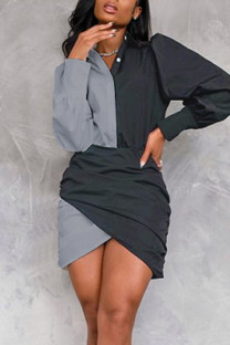Grey Casual Solid Split Joint Buttons Asymmetrical Turndown Collar One Step Skirt Dresses
