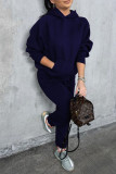 Black Casual Solid Split Joint Pocket Hooded Collar Long Sleeve Two Pieces