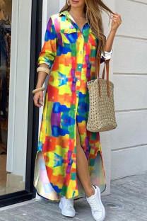 Colour Casual Print Split Joint Buckle Turndown Collar Shirt Dress Dresses