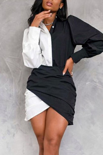 White Casual Solid Split Joint Buttons Asymmetrical Turndown Collar One Step Skirt Dresses