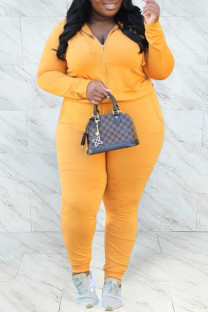 Yellow Casual Solid Hot Drill Hooded Collar Plus Size Two Pieces