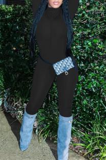 Black Sexy Solid Split Joint Zipper Zipper Collar Skinny Jumpsuits