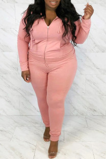 Pink Casual Solid Hot Drill Hooded Collar Plus Size Two Pieces