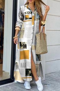 White Casual Print Split Joint Buckle Turndown Collar Shirt Dress Dresses