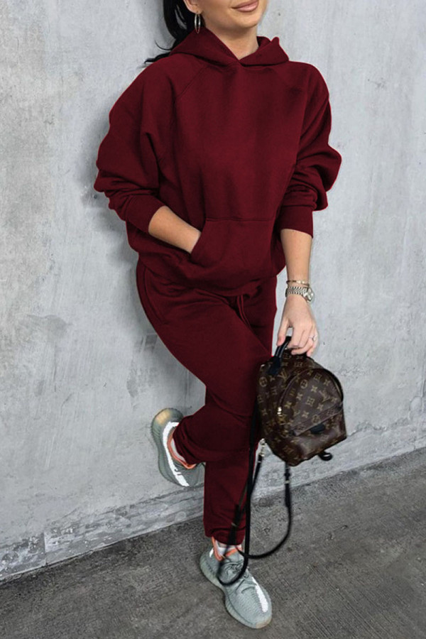 Burgundy Casual Solid Split Joint Pocket Hooded Collar Long Sleeve Two Pieces