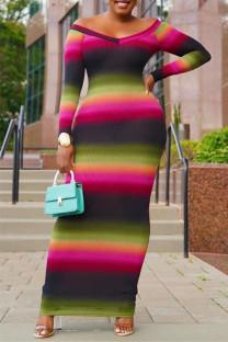 Colour Fashion Casual Print Basic V Neck Long Sleeve Dresses