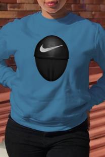 Blue Fashion Sportswear Print Split Joint O Neck Tops (squid game)
